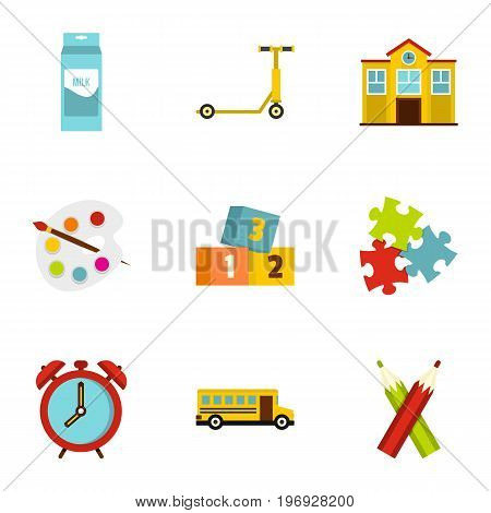 School time icons set. Flat set of 9 school time vector icons for web isolated on white background
