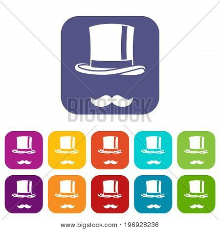 Cylinder and moustaches icons set vector illustration in flat style in colors red, blue, green, and other