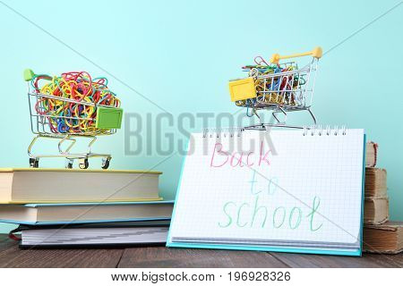 Shopping Carts With Rubber Bands And Paperclips With Inscription Back To School