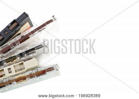 Cassette tapes isolated on the white background