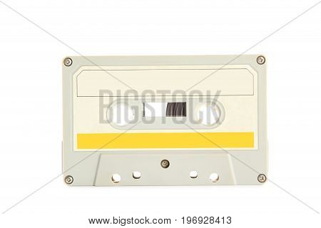 White Cassette Tape Isolated On White Background