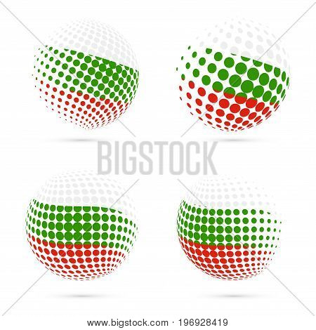 Bulgaria Halftone Flag Set Patriotic Vector Design. 3D Halftone Sphere In Bulgaria National Flag Col