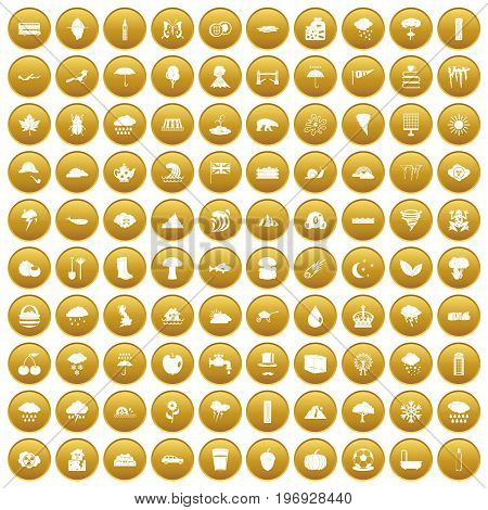 100 rain icons set in gold circle isolated on white vector illustration