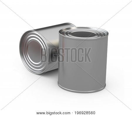 Closed Food Tin Cans, 3D Illustration Isoladet White