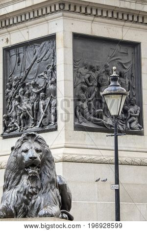 One of the iconic Lions at the base of Nelsons Column in Trafalgar Square in London UK. The sculptured scenes behind the Lion portray moments from the Naval career of Lord Horatio Nelson.