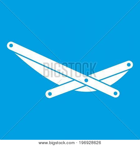 Beach chaise icon white isolated on blue background vector illustration