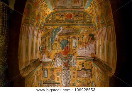 HOUSTON, USA - JANUARY 12, 2017: Beautiful and colorful draws inside of the sarcophagus of the Ancient Egypt in National Museum of Natural Science in Orlando Houston in USA, in a black background.
