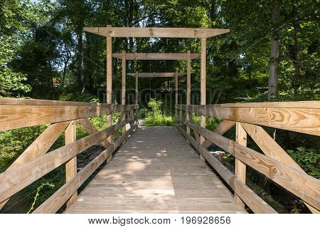 A foot bridge on the trail at the Watchung Reservation