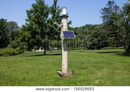 A rain gauge at the Watchung Reservation in New Jersey