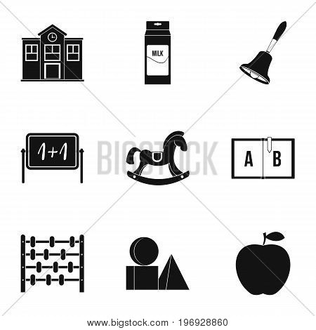 School icons set. Simple set of 9 school vector icons for web isolated on white background
