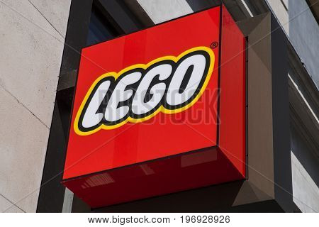 LONDON UK - JUNE 14TH 2017: The Lego symbol at the Lego store in Leicester Square in central London UK on 14th June 2017.