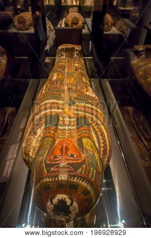 HOUSTON, USA - JANUARY 12, 2017: Beautiful sarcophagus of the Ancient Egypt in National Museum of Natural Science in Orlando Houston in USA, in a black background.