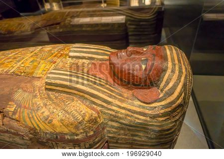 HOUSTON, USA - JANUARY 12, 2017: Close up of the sarcophagus of the Ancient Egypt in National Museum of Natural Science in Orlando Houston in USA.