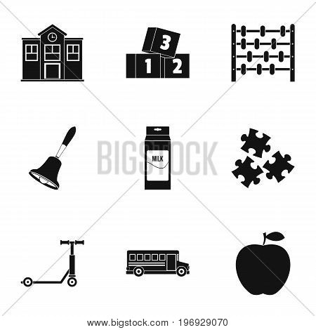 Primary school icons set. Simple set of 9 primary school vector icons for web isolated on white background