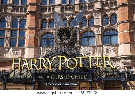 LONDON UK - JUNE 14TH 2017: A view of the front entrance to the Palace Theatre promoting its play Harry Potter and the Cursed Child in London on 14th June 2017.