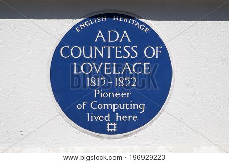 LONDON UK - JUNE 14TH 2017: A blue plaque marking the location where Ada Countess of lovelace lived in St. Jamess Square in London UK on 14th June 2017.