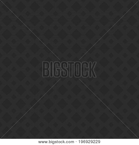 Black seamless perforated diagonal square pattern texture background - 3d geometric vector graphic design from negative cutout shapes with shadow effect