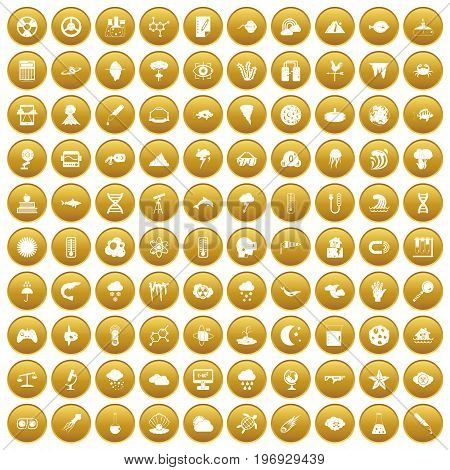 100 research icons set in gold circle isolated on white vector illustration