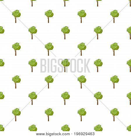 Thick tree pattern seamless repeat in cartoon style vector illustration