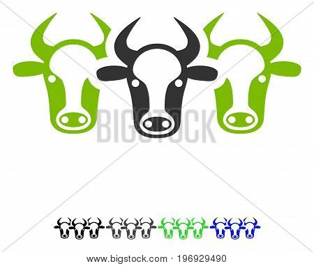 Cattle flat vector pictogram. Cattle icon with gray, black, blue, green color versions.