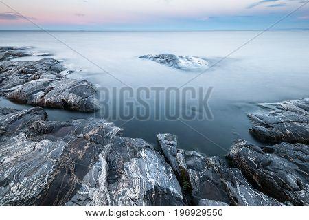 Tranquil Morning Minimalist Landscape Of Stony Lake Coast