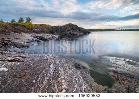 Landscape Of Stony Coast Of The Lake