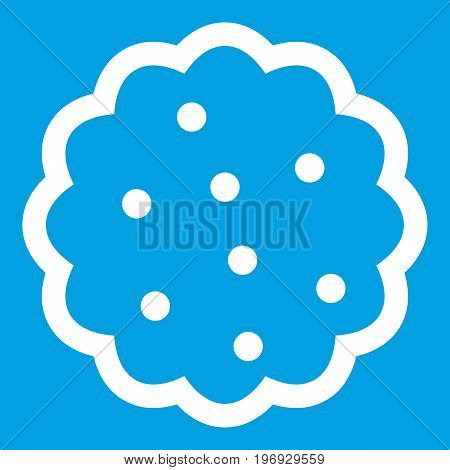 Cookies icon white isolated on blue background vector illustration