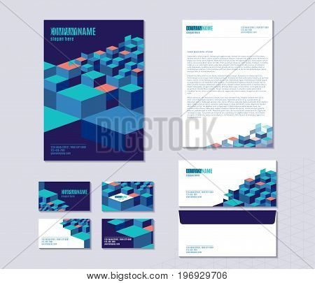 Vector illustration of stationery set with sheet of paper, folder, envelope, business cards template