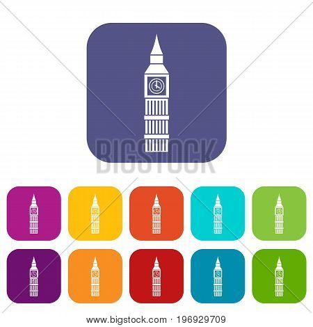 Big Ben clock icons set vector illustration in flat style in colors red, blue, green, and other