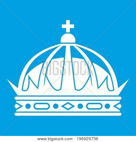 Crown icon white isolated on blue background vector illustration