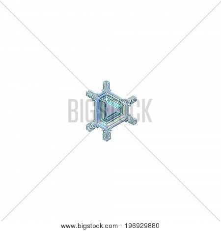 Snowflake isolated on white background. Macro photo of real snow crystal: small triangular snowflake with six simple, straight arms and glossy central triangle with simple pattern of lines and ridges.