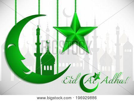 Card with green moon and star on white for greeting with Islamic holidays Ramadan Eid al-Fitr Eid al-Adha. Vector illustration