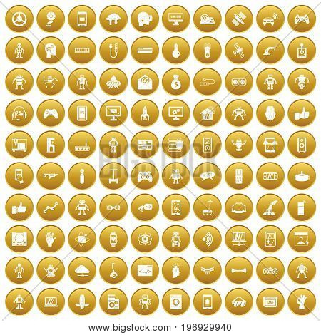 100 robot icons set in gold circle isolated on white vector illustration