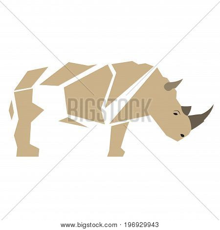 Isolated abstract Rhino on a white background, Vector illustration