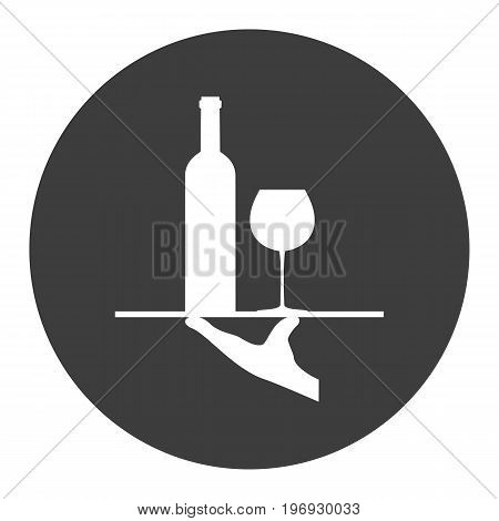 A tray with a glass and a bottle of wine. Vector illustration.