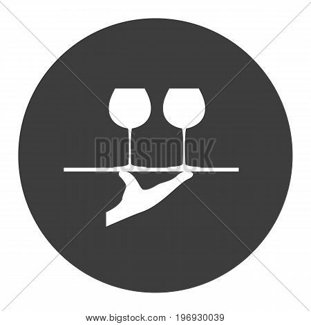 Tray with glasses of wine. Vector illustration.