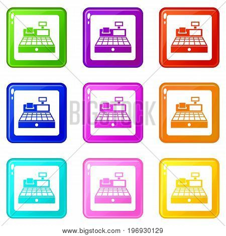 Sale cash register icons of 9 color set isolated vector illustration