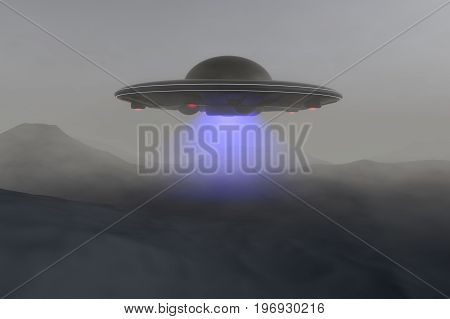 An unidentified flying object floats over the ground (3d rendering)