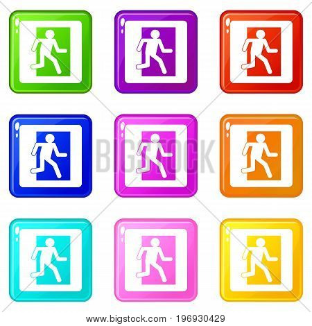 Fire exit sign icons of 9 color set isolated vector illustration