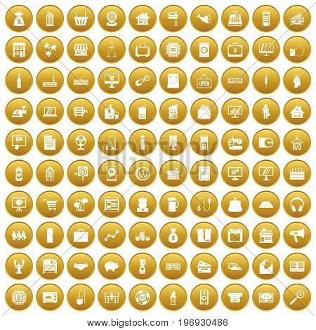 100 sales icons set in gold circle isolated on white vector illustration