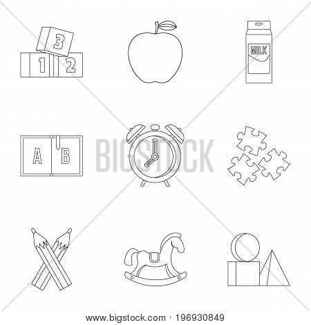 School time icons set. Outline set of 9 school time vector icons for web isolated on white background