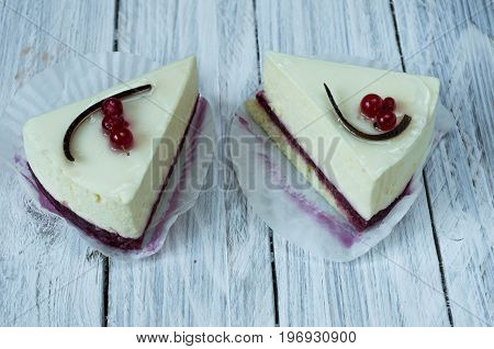 White Cheesecake With Red Currant.