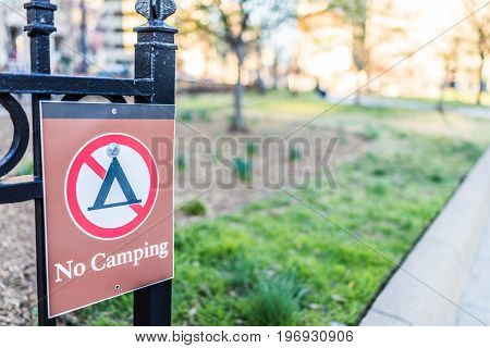 No Camping Sign In Public Park In Washington Dc