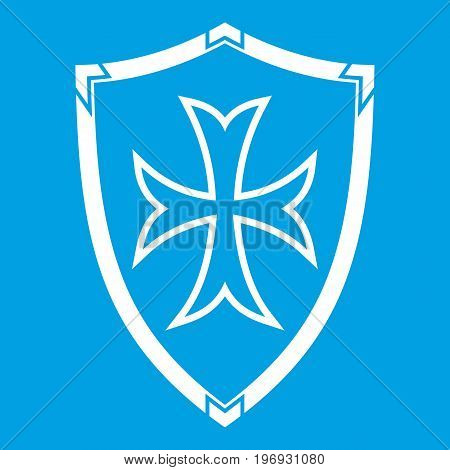 Protective shield icon white isolated on blue background vector illustration