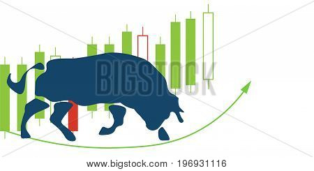 Bull market or recovery rising market illustration. Also great as forex market vector illustration.