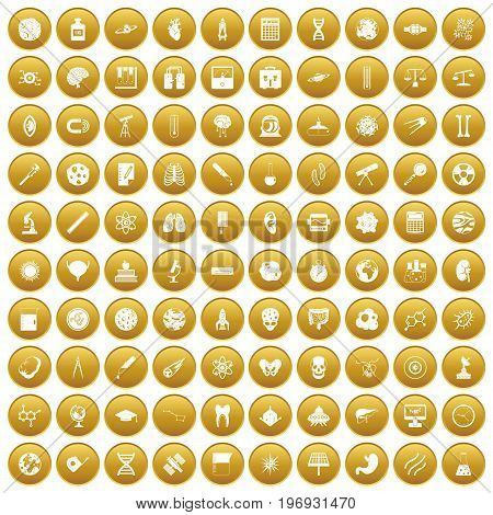 100 science icons set in gold circle isolated on white vector illustration