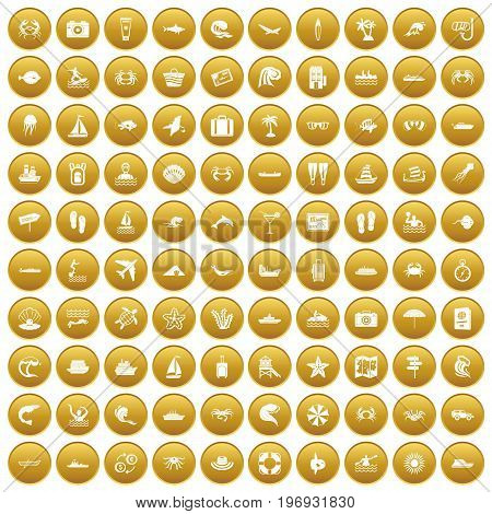 100 sea life icons set in gold circle isolated on white vector illustration