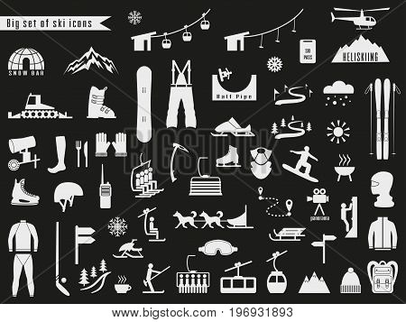 Big set of icons for ski and winter sports. Design for tourist catalog maps of the ski slopes placard brochure flyer booklet. Vector illustration.