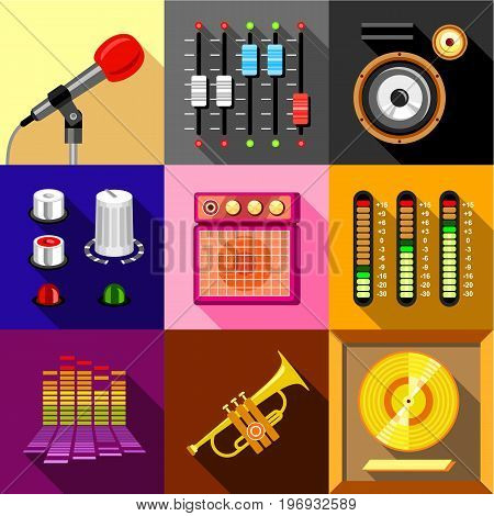 Studio equipment icons set. Flat set of 9 studio equipment vector icons for web with long shadow
