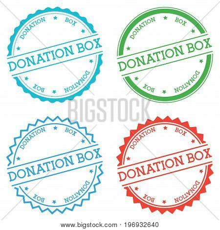 Donation Box Badge Isolated On White Background. Flat Style Round Label With Text. Circular Emblem V